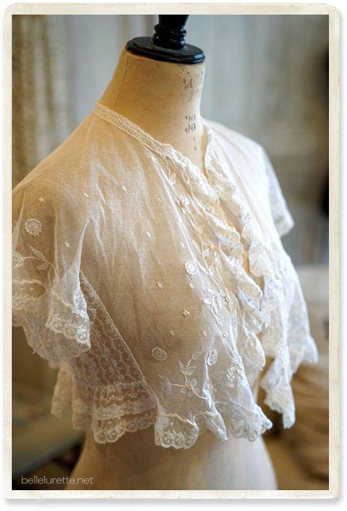 アンティークチュールレースボレロ - 【Belle Lurette】ヨーロッパ フランス アンティークレース リネン服の通販