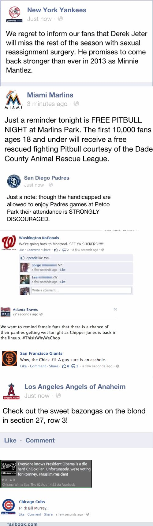 In Which Nine Major League Baseball Teams Had Their Facebook and Twitter Hacked