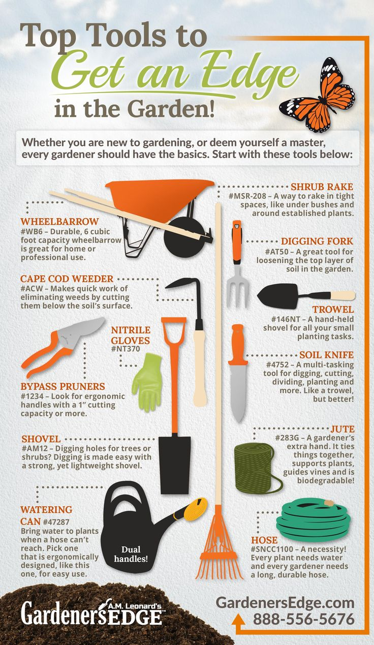 Best Gardening Tools: Top Tools to Get an Edge in the Garden this Spring! [Must-Have Garden Tools!] Durable wheelbarrow, Cape Cod Weeder, nitrile gloves, bypass pruners, garden spade, watering can, narrow shrub rake, digging fork, trowel, Soil Knife (Hori Hori Knife), jute garden string, and a reliable hose!  |  GardenersEdge.com
