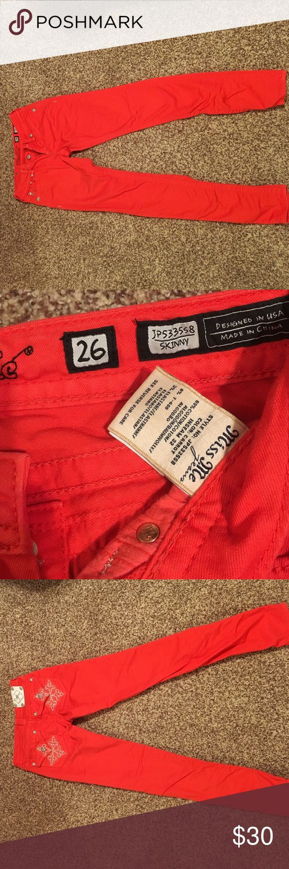 Miss Me Skinny Jeans Coral colored size 26 skinny jeans, lightly worn. Miss Me Jeans Skinny