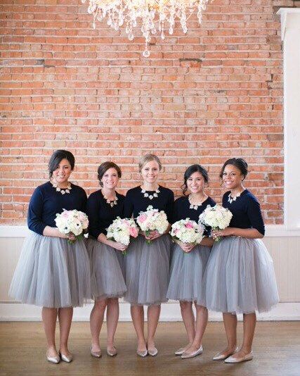 A personal favorite from my Etsy shop https://www.etsy.com/listing/215801233/clarisa-ash-gray-tulle-skirt-bridesmaids