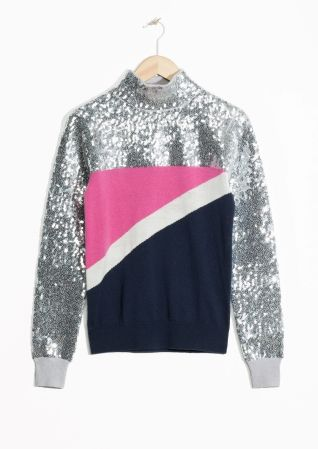 & Other Stories image 2 of Pop And Block Sequined Sweater in Silver