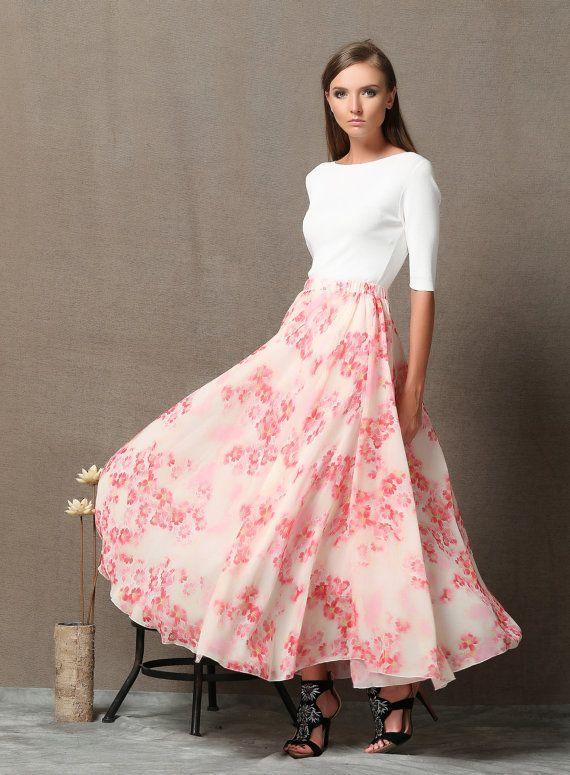 Maxi skirt chiffon skirt Lovely Pink Flower Skirt C563 by YL1dress