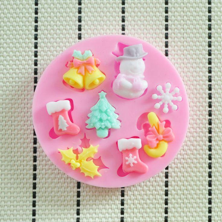2014 NUEVA molde de silicona hermosa Navidad, Herramientas Fondant Cake Decorating, forma de silicona, silicona molde de la torta