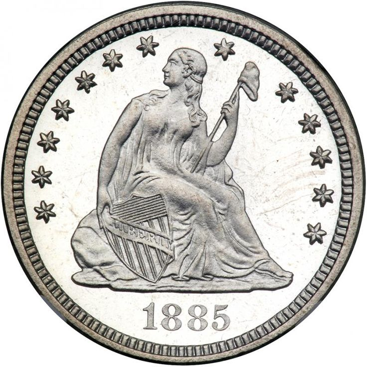 1885 Liberty Seated Quarter Dollar. NGC PF67 Fully white ultra Cameo Gem Proof. Only 930 struck. Sleek and white in color as this gorgeous coin is, the luster seems to seesaws with an occasional hint of iridescence along with the deep reflectivity from the surface. In former days, the luster was enough to determine a coin's status. But today, just as important is the strike: there is no deviation in the sharp design detail seen, not even in the two intricately detailed shields of this…