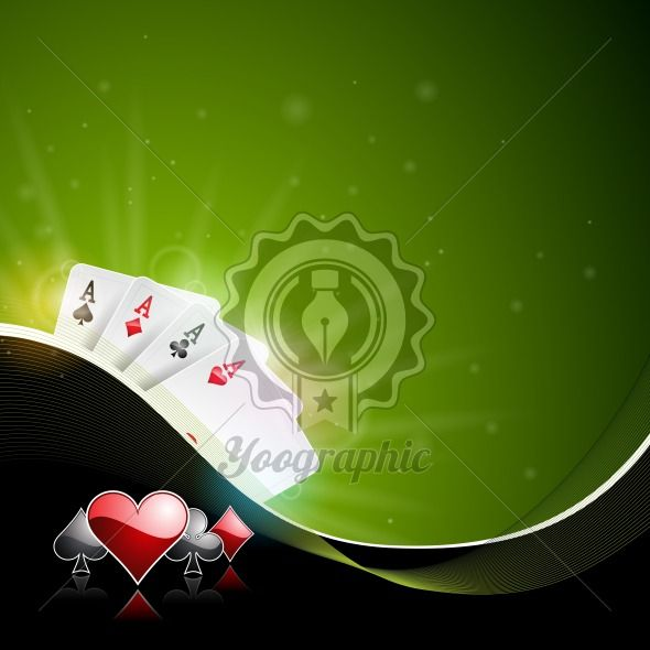Graphic_152_39 Vector illustration on a casino theme with color playing chips and poker cards on dark background. - Royalty Free Vector Illustration