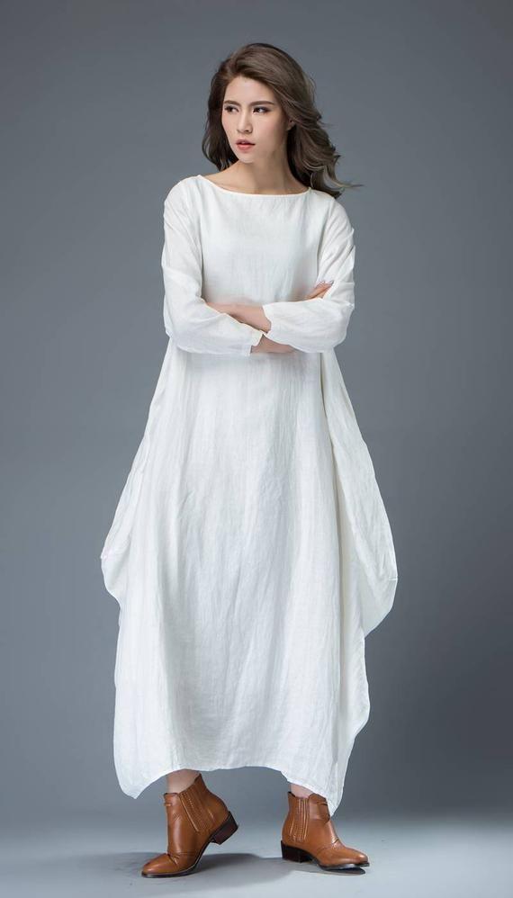 White dress linen dress long linen