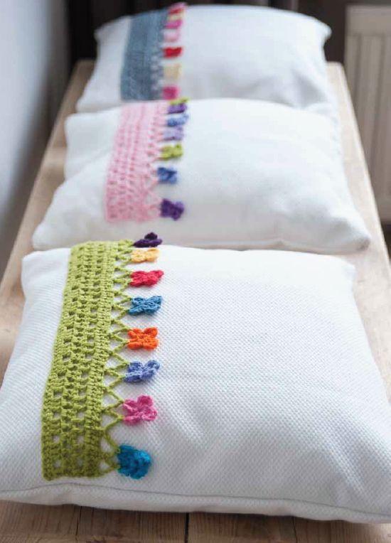 Biquinhos de #croche para enfeitas suas fronhas! #CoatsCorrente