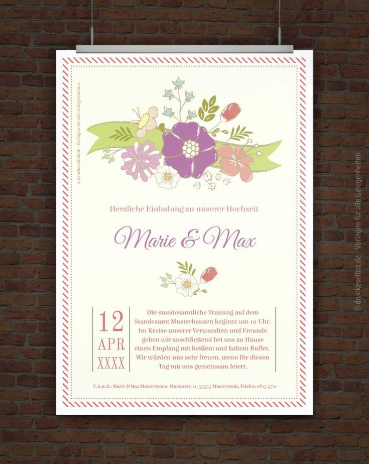 Kostenlose Hochzeitseinladungskarte Zum Ausdrucken