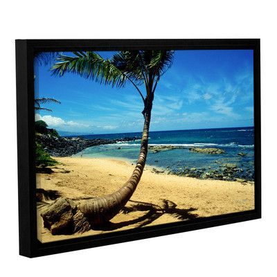 """ArtWall Palm Tree In Paradise by Kathy Yates Framed Photographic Print on Wrapped Canvas Size: 8"""" H 10"""" W"""