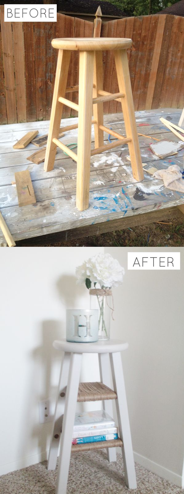 All Gumption and Grace: DIY Barstool Nightstand