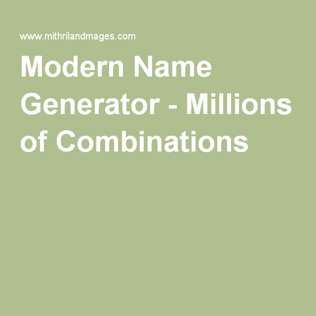 Modern Name Generator - Millions of Combinations