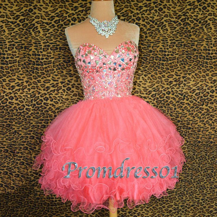 2015 sweetheart pink short prom dress, ball gown, homecoming dress for teens #coniefox #2016prom