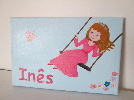 """Kids door sign, Custom Girls Princess door sign, 12""""x8""""."""