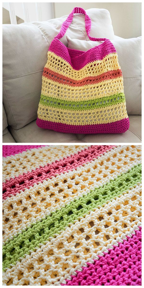 Crochet Beach Tote Pattern or Crochet two handles for a shopping bag ~ Uses cotton yarn.