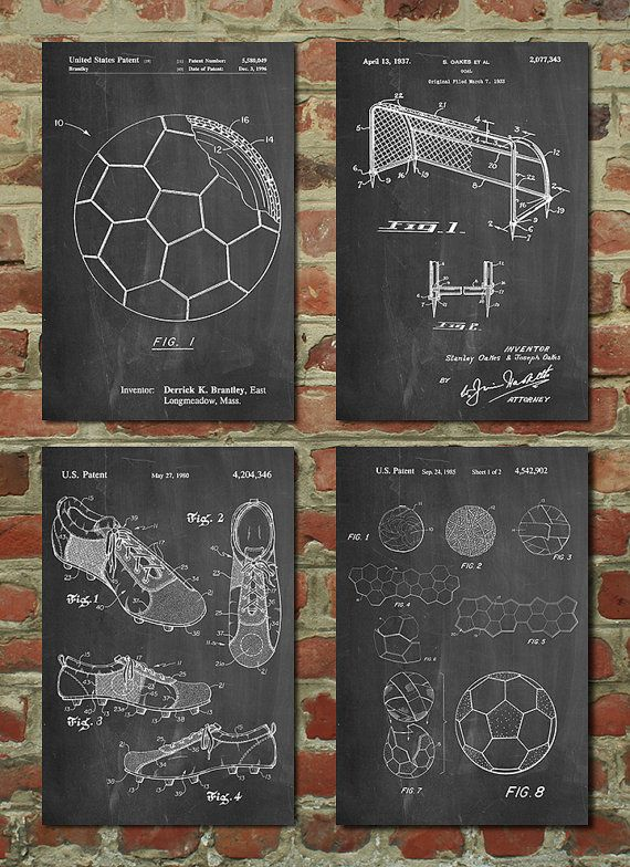 Soccer Patent Posters Group of 4, Soccer Gifts, Sports Decor, Soccer Mom, Soccer Wall Art