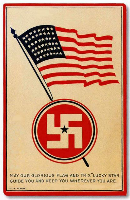 """""""Following a brief surge of popularity in Western culture, the swastika from the 1930s became strongly associated with its iconic usage by Nazi Germany, and it has hence become stigmatized and to some extent taboo in the Western world; it has notably been outlawed in Germany if used as a symbol of Nazism."""""""