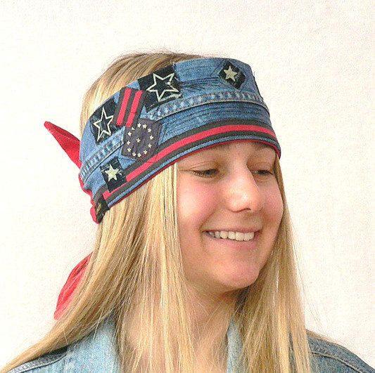 Crazy hippie boho jeans headband cap head warmer.Tied spring hat.Fantasy appliqued recycled,head warmer hippie boho.