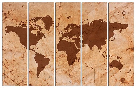 Crumpled Paper Abstract World Map Diptych Triptych Multi Panel