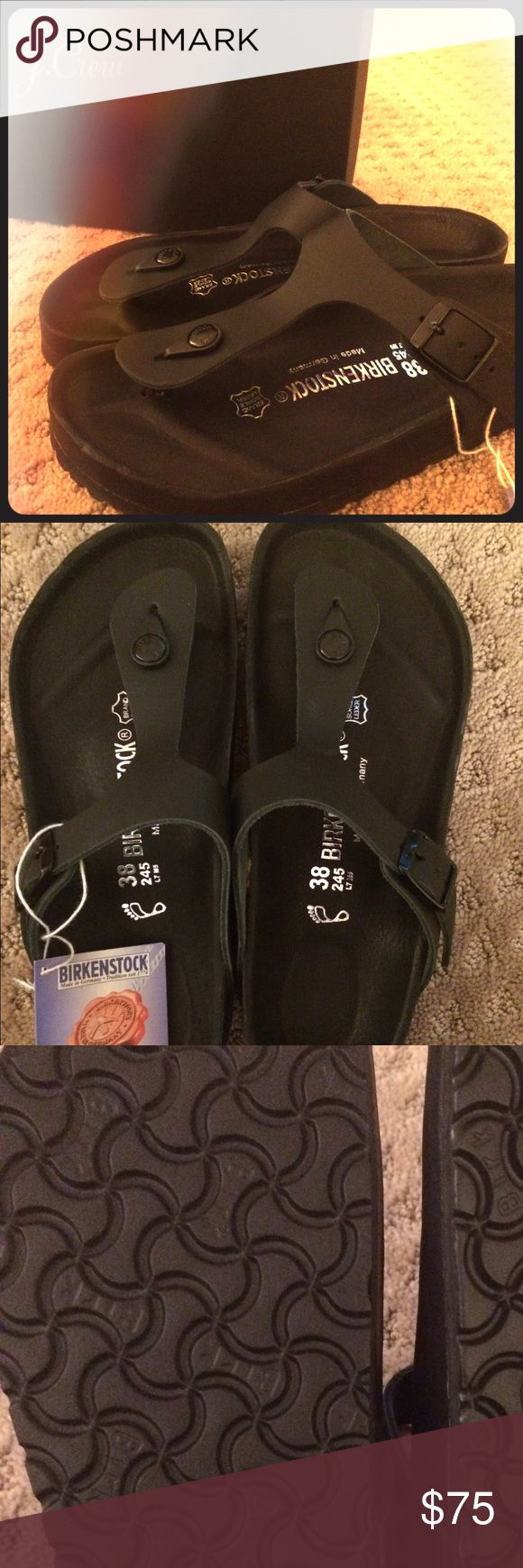 Birkenstock Gizeh-- Size 38 {Matte Black} Super chic pair of women's Birkenstock Gizeh sandal. Size 38, matte black finish. New in box with Birksentock information tag attached. These were purchased at J.Crew. Birkenstock Shoes Sandals