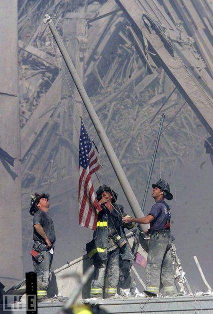 Flag Raising.  September 11, 2001.9 11, September 11, Heroes, Flags, World Trade Center, Twin Towers, September11, Forget, 911