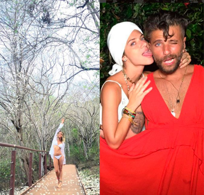 O ator, que está passando as férias em Fernando de Noronha, mostrou o amor pela atriz e até apareceu de vestido vermelho, veja foto!