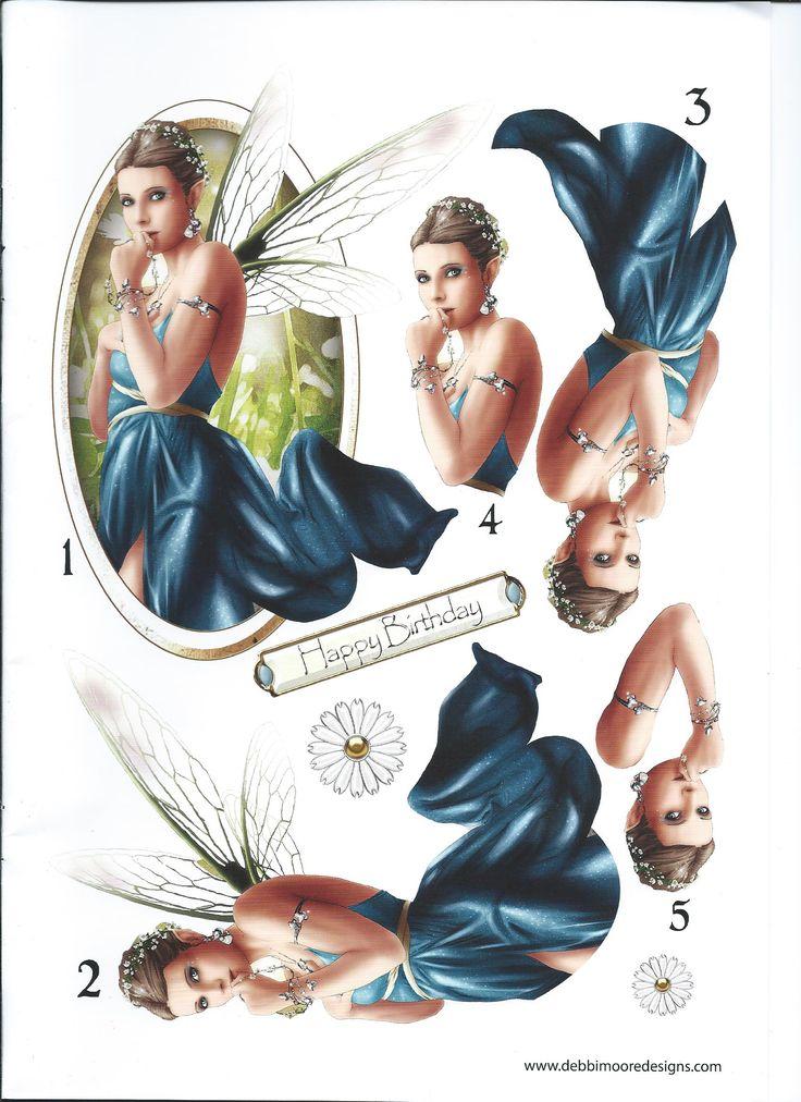 Debbi moore blue fairy art deco cards vintage collage