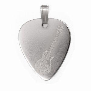PuasdePlata.com - Púas de Plata - PÚASdePLATA COLGANTE - Colgante PÚA de PLATA (Silver Guitar Pick Pendant) GIBSON LP