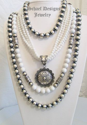 Schaef Designs White Agate Necklaces, sterling silver long bench bead necklace and Vince Platero Zia Pendant | Schaef Designs Southwestern Basics Collection | online upscale Southwestern, Equine, Native American, & Turquoise Jewelry gallery | Schaef Designs artisan handcrafted Jewelry | New Mexico