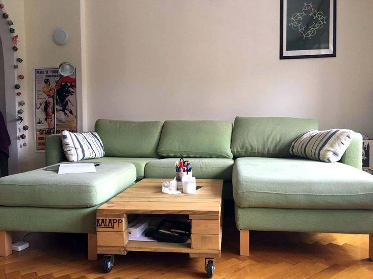 fél raklap méretű raklap asztal kőris színben / pallet coffee table