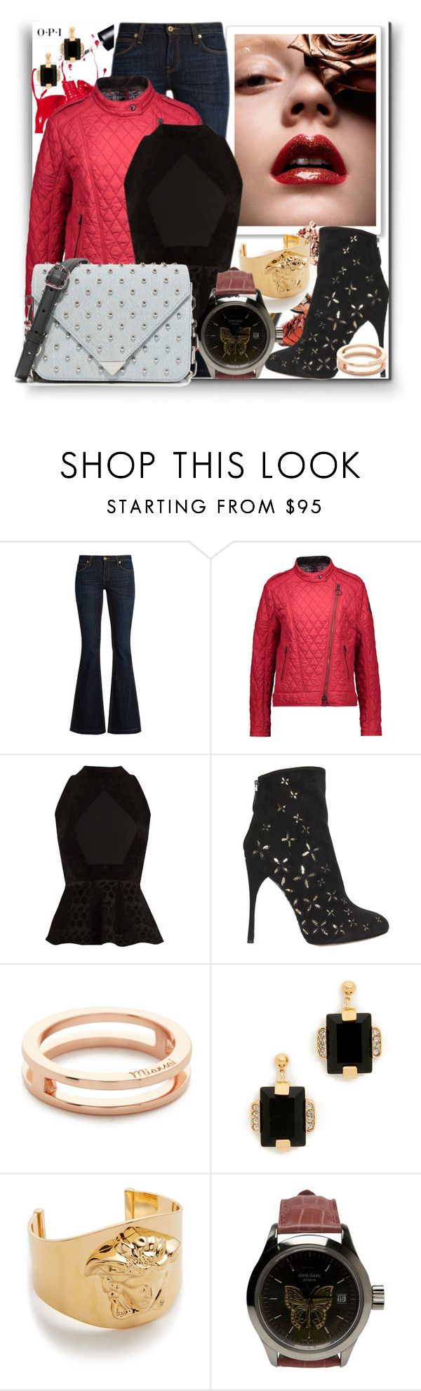 """""""An Awe with Peplum Top, Dark Wash Jeans & Quilted Jacket!!"""" by stylediva20 on Polyvore featuring OPI, Burberry, Belstaff, Roland Mouret, Alaïa, MIANSAI, Marni, Versace, John Isaac and Alexander Wang"""