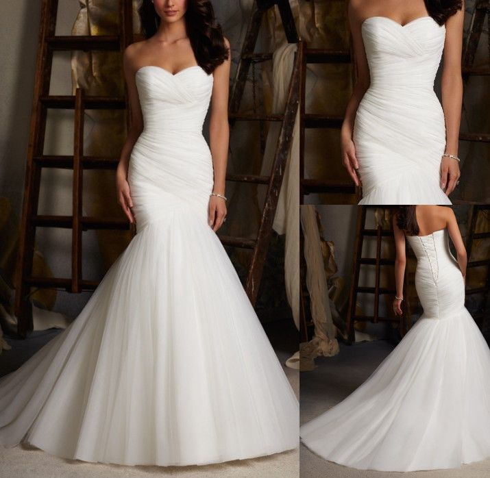 2014 White Ivory Mermaid Long Wedding Dresses Sweetheart Bridal Gowns