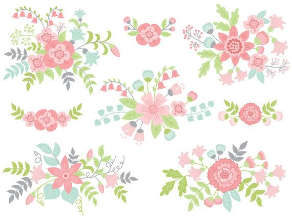 ITEM: Floral Bouquet #Clipart - #Digital #Vector Flowers, Bouquet, Bunch, Wedding Clip Art for Personal and Commercial Use  WHAT INCLUDED: 8 PNG files (transparent background,... #thecreativemill #clipart #digital #vector #flowers #wedding #floral