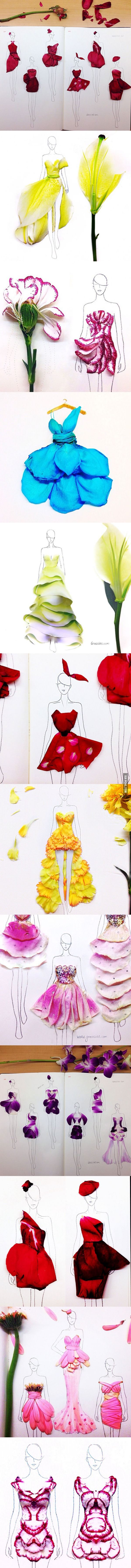 Clever Fashion Illustrations With Real Flower Petals As Clothing. Designer Grace Ciao
