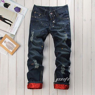 New Classic Men's Fashion Design Straight Jeans Slim Trousers Casual Pants  Hole | eBay