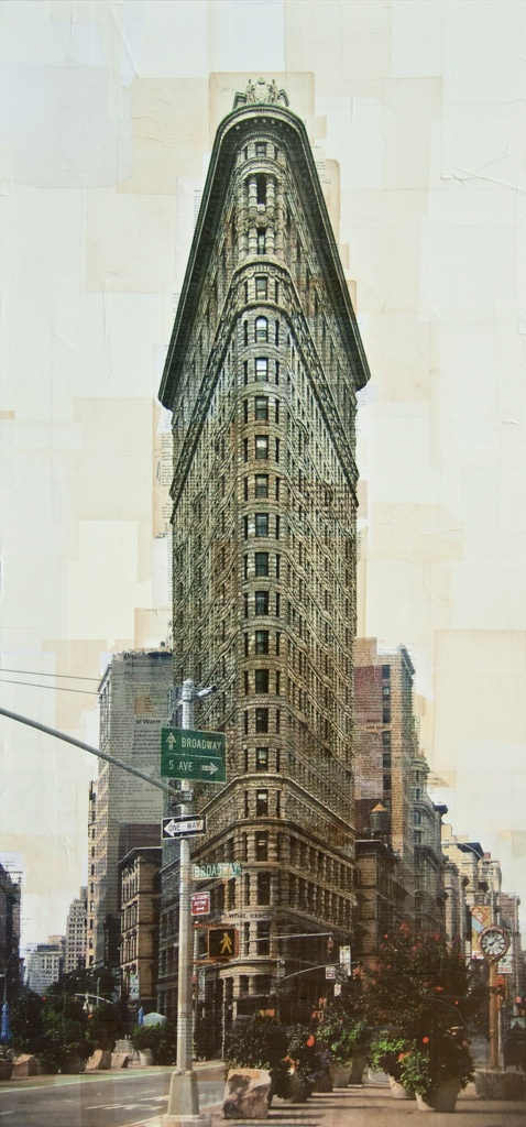 Nicolo Quirico, New York, Flatiron Building - 2013 - stampa fotografica e collage - cm. 150 x 75 ____________________________________________________________________________________    Milan_ 29th May to 29th June 2013- Costantini art gallery