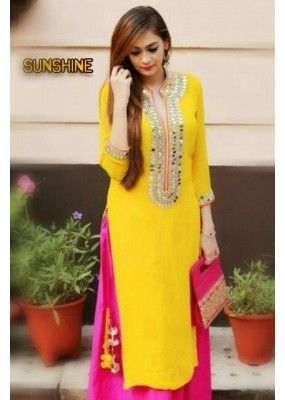 Bollywood Replica - Party Wear Yellow & Pink Mirror Work Salwar Suit - SUNSHINE