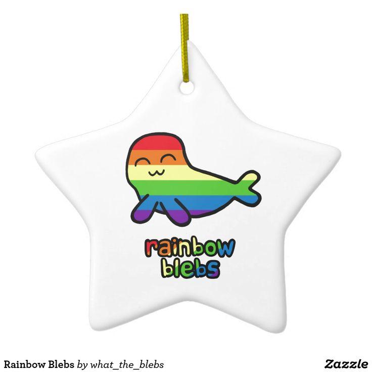 Rainbow Blebs - star ceramic ornament #seals #cute #cartoons #LGBT #lesbians #gay