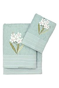 EMBROIDERED BOTANICAL STEMS TOWEL