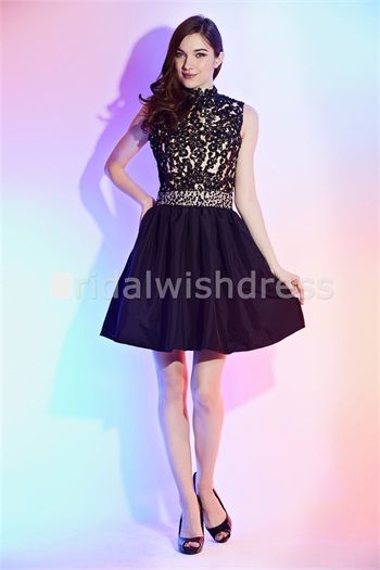 A-line Black Appliques Beading Sequins Short/Mini Cocktail/Homecoming Dresses #A-line #blackdress#dress #dresses #homecoming #cocktaildress #lovely #vogue