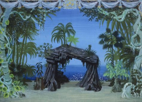 Les Indes galantes, ballet héroïque Roger Chapelain-Midy Scène de l'entrée des « Sauvages » Huile sur toile : tableau peint à l'occasion de la reprise à l'Opéra dans la mise en scène de Maurice Lehmann, 1952