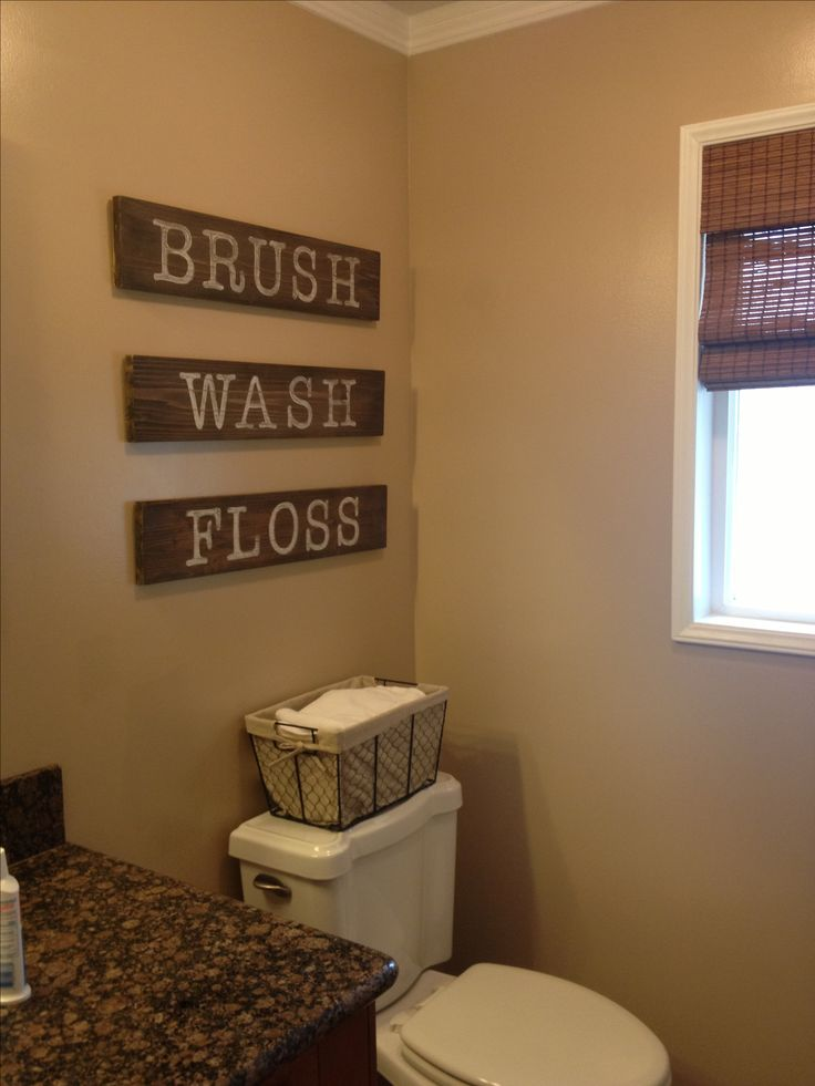DIY Bathroom Signs Left Over Boards From A Renno Project Stained And Hand  Painted Distressed Lettering · Burlap Bathroom DecorBathroom ...
