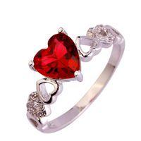 Lingmei Мода Сердце Cut Розовый Турмалин Белый Топаз Серебряное Кольцо Размер 6 7 8 9 10 Подарок для Романтической Любви Стиль Оптовая 956R21