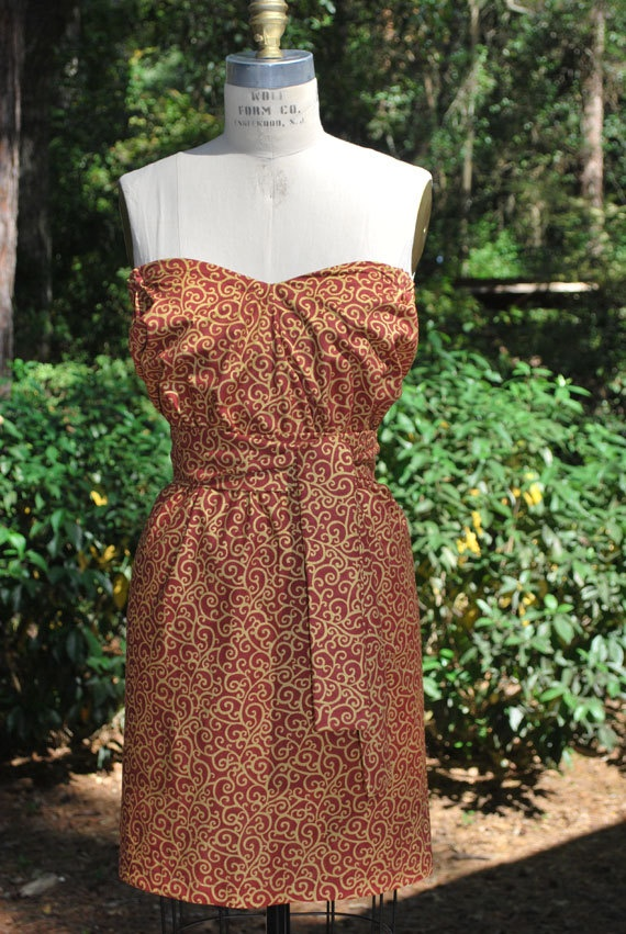 FSU game day Garnet and gold printed strapless dress by RysaRuth, $39.00.....Getting ready for football season