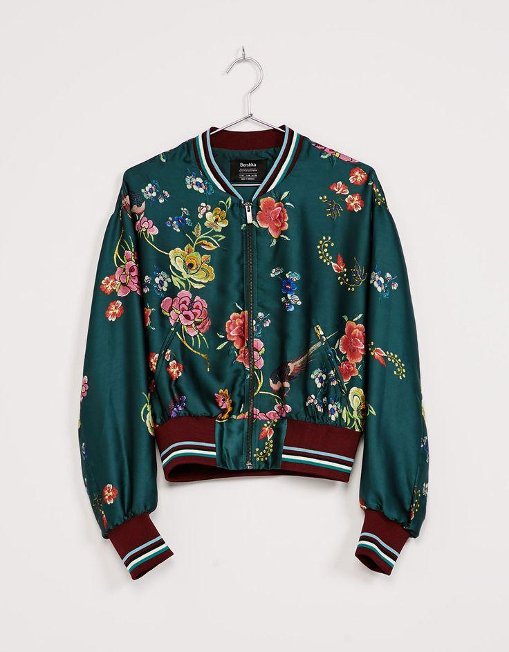 Oriental floral print bomber jacket - Bomber jacket - Bershka United Kingdom