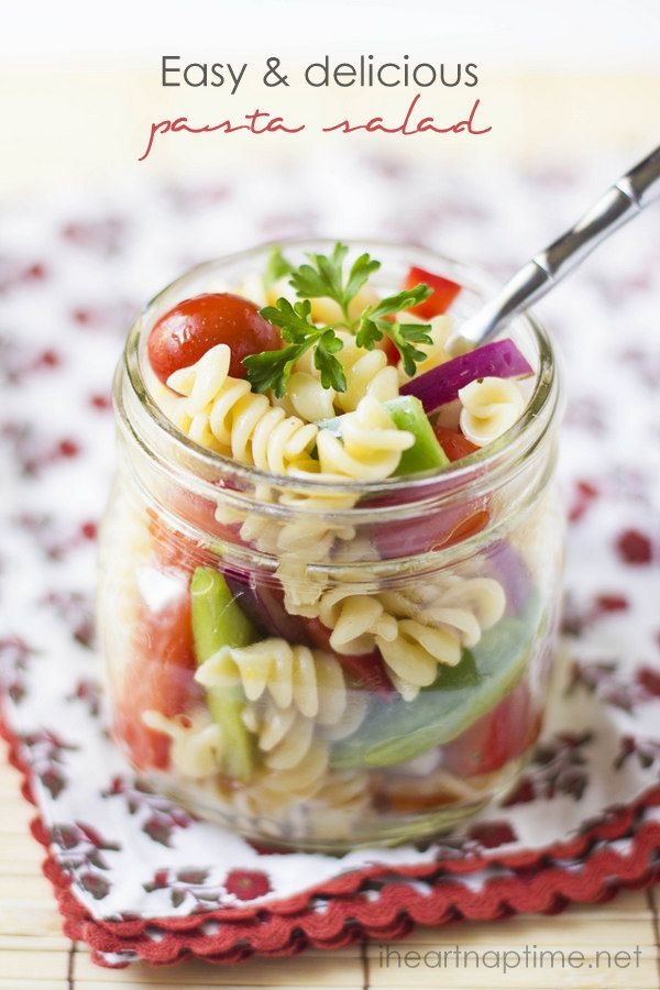 Delicious and EASY pasta salad. A great idea for luncheons, for baby or bridal shower too!
