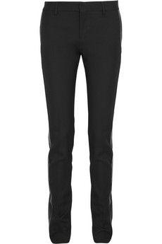 Saint Laurent Leather-trimmed wool-twill tuxedo pants | NET-A-PORTER