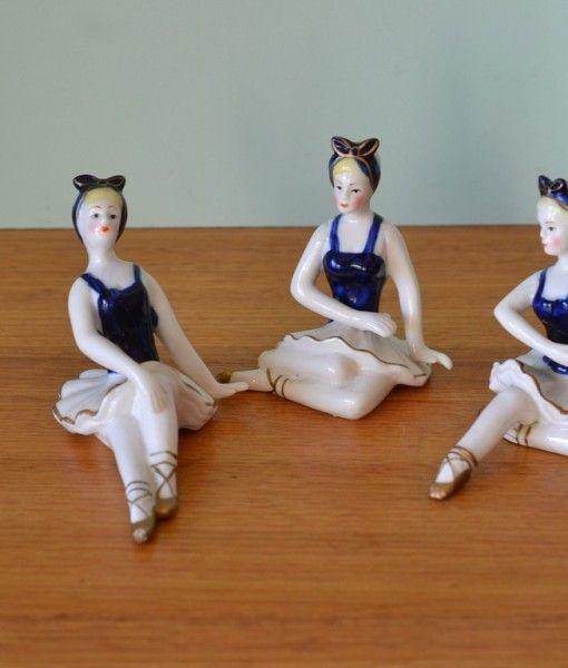 Vintage Ballet dancer x 3  figure Russian ceramic