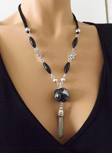Collier noir et argent perles réalisées à la main en pâte polymère. : Collier par vilicreation
