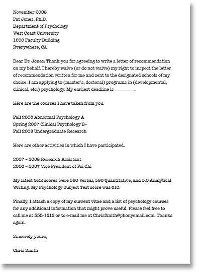 Sample Admission Letter Recommendation Master